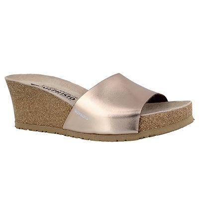 Lds Lise old pnk crk footbed wdg sandal