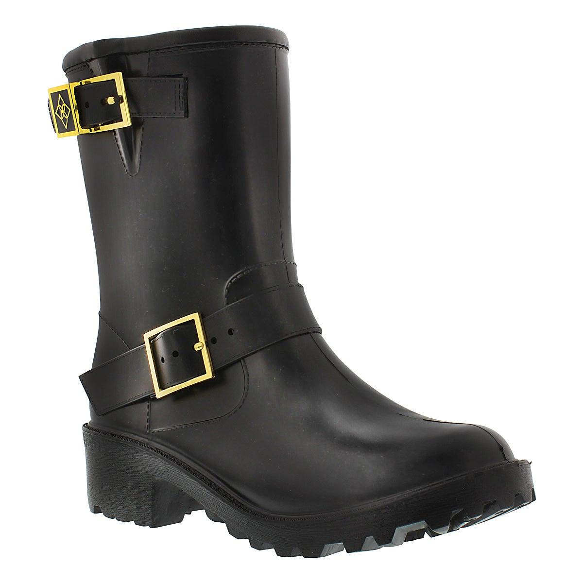 Lds Liverpool blk buckle rain boot