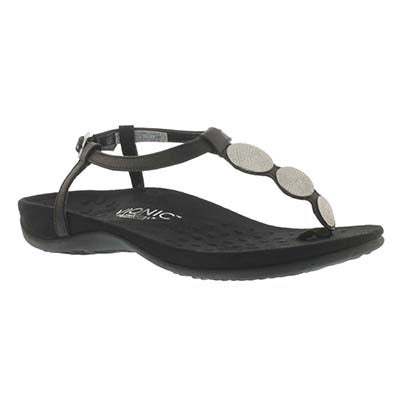 Vionic Women's LIZBETH black arch support flip flops