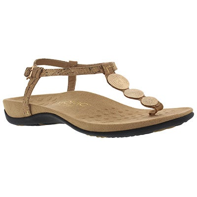 Vionic Women's LIZBETH gold arch support flip flops