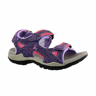 Grls Lobster purple 3 strap sport sandal
