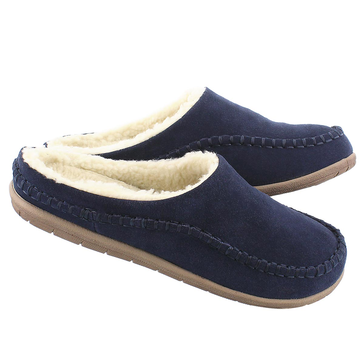 Mns Logan navy open back slipper