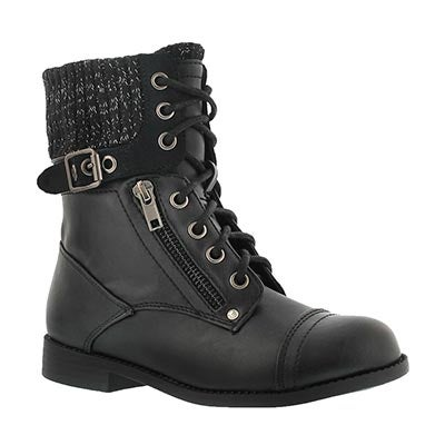 Paris Blues Girls' LORI black casual combat boots