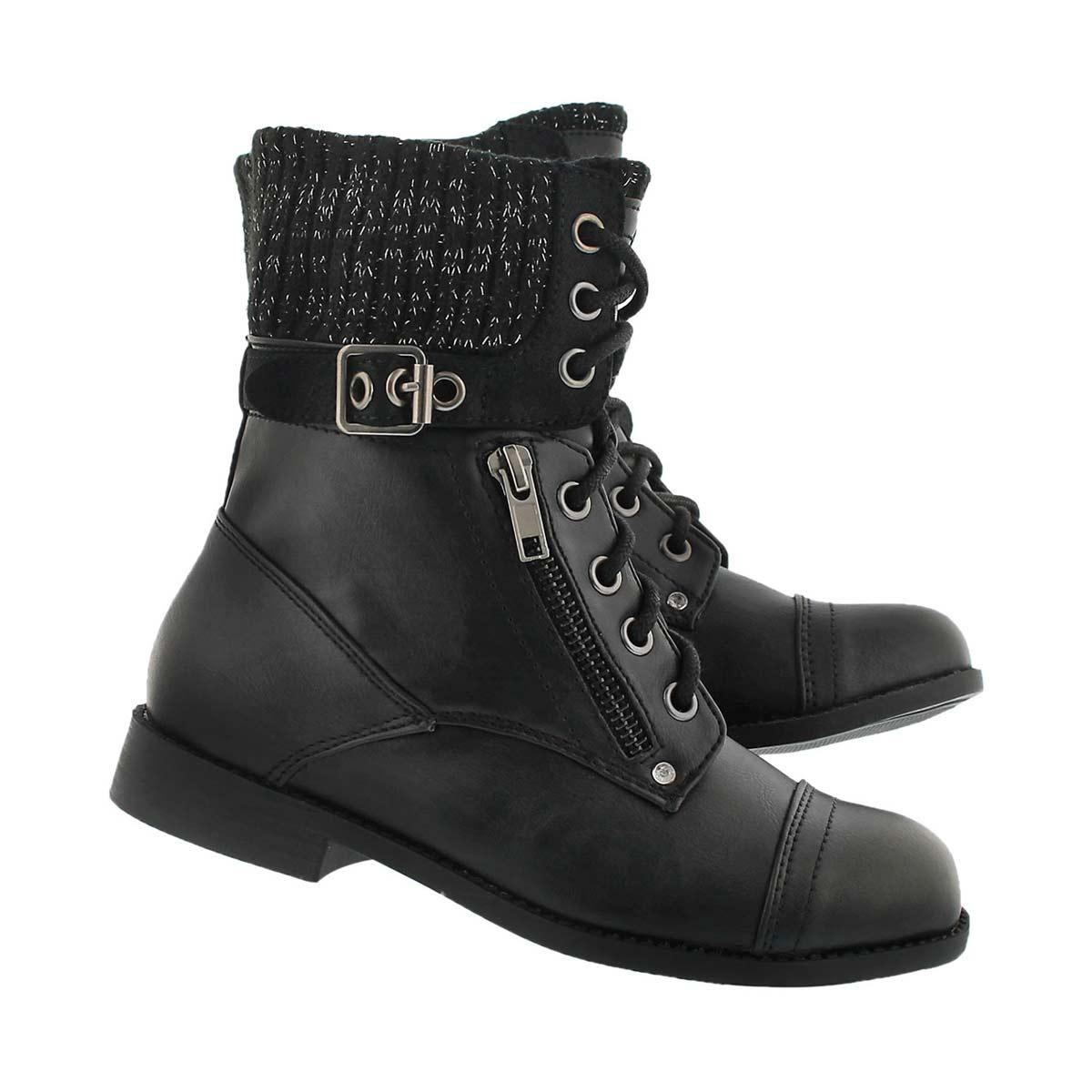 Grls Lori blk casual combat boot