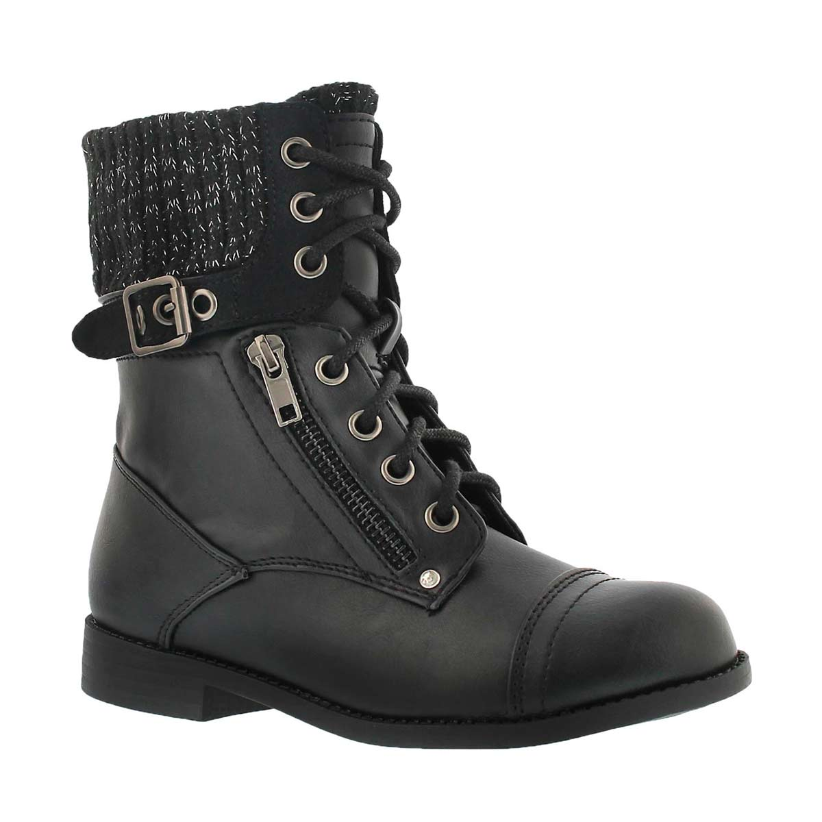 Girls' LORI black casual combat boots
