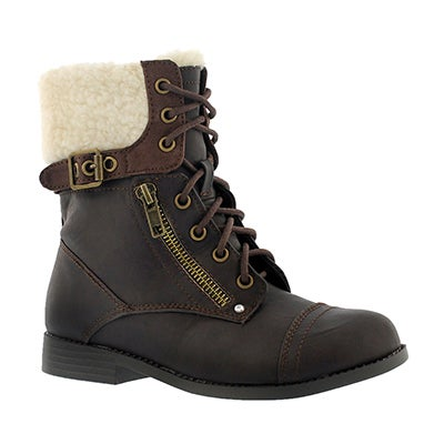 Paris Blues Girls' LORI brown casual combat boot