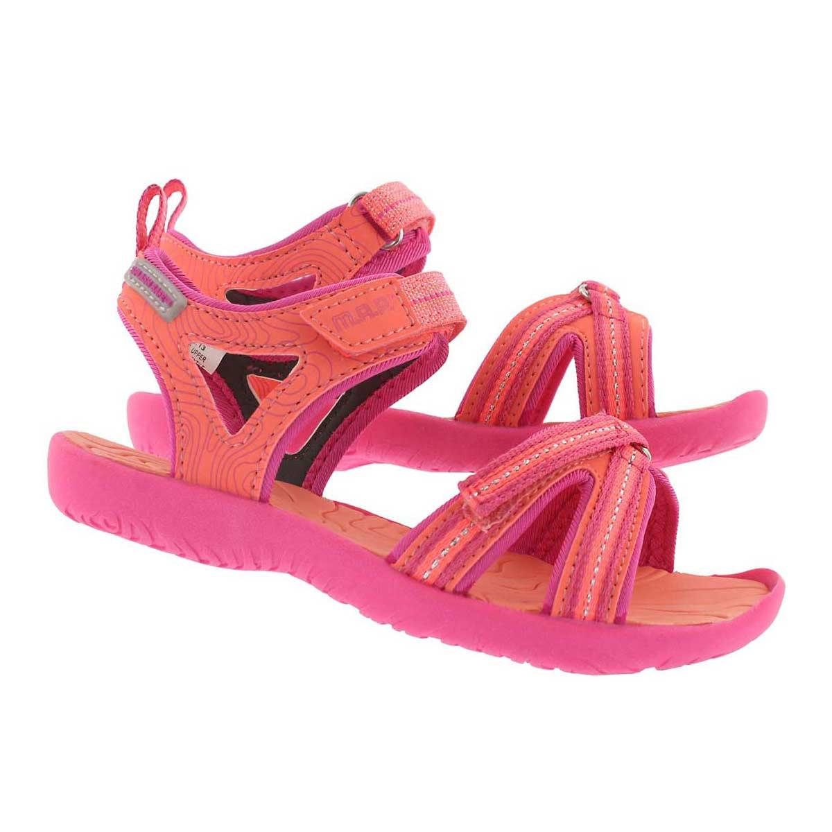Grls Lorna coral/pink casual sandal