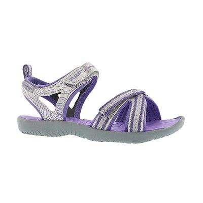 Grls Lorna silver/purple casual sandal
