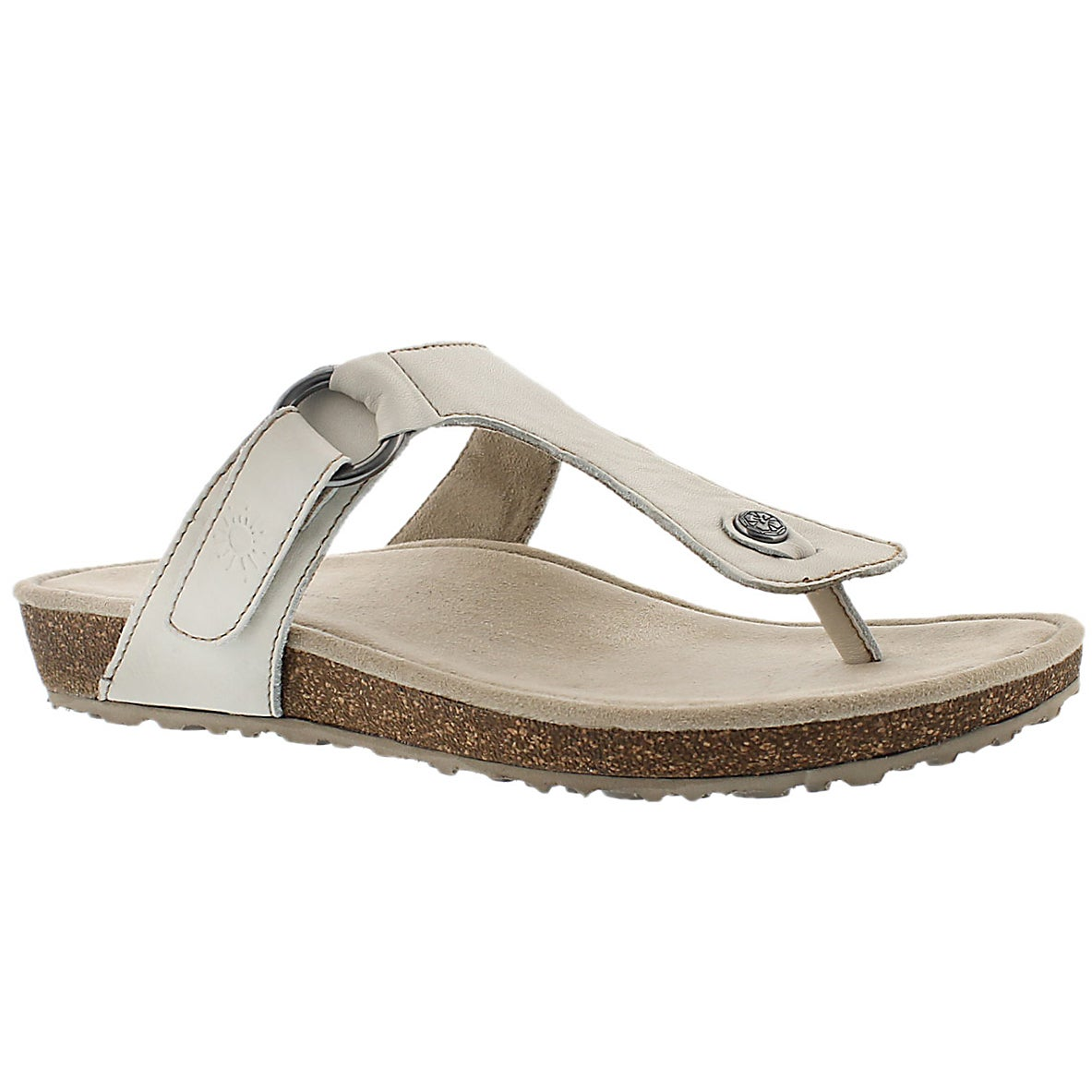 Women's LOUISA white casual thong sandals