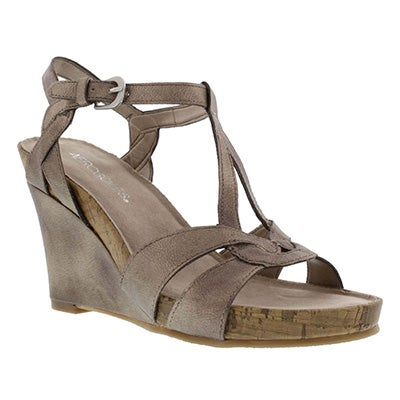 Lds Love Plush champagne wedge sandals