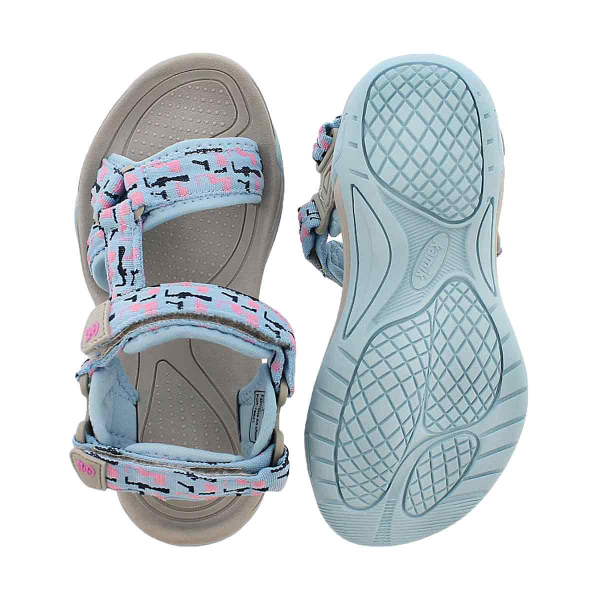 Grls Lowtide light blue 3 strap sandal