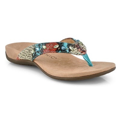 Lds Lucia blue teal thong sandals