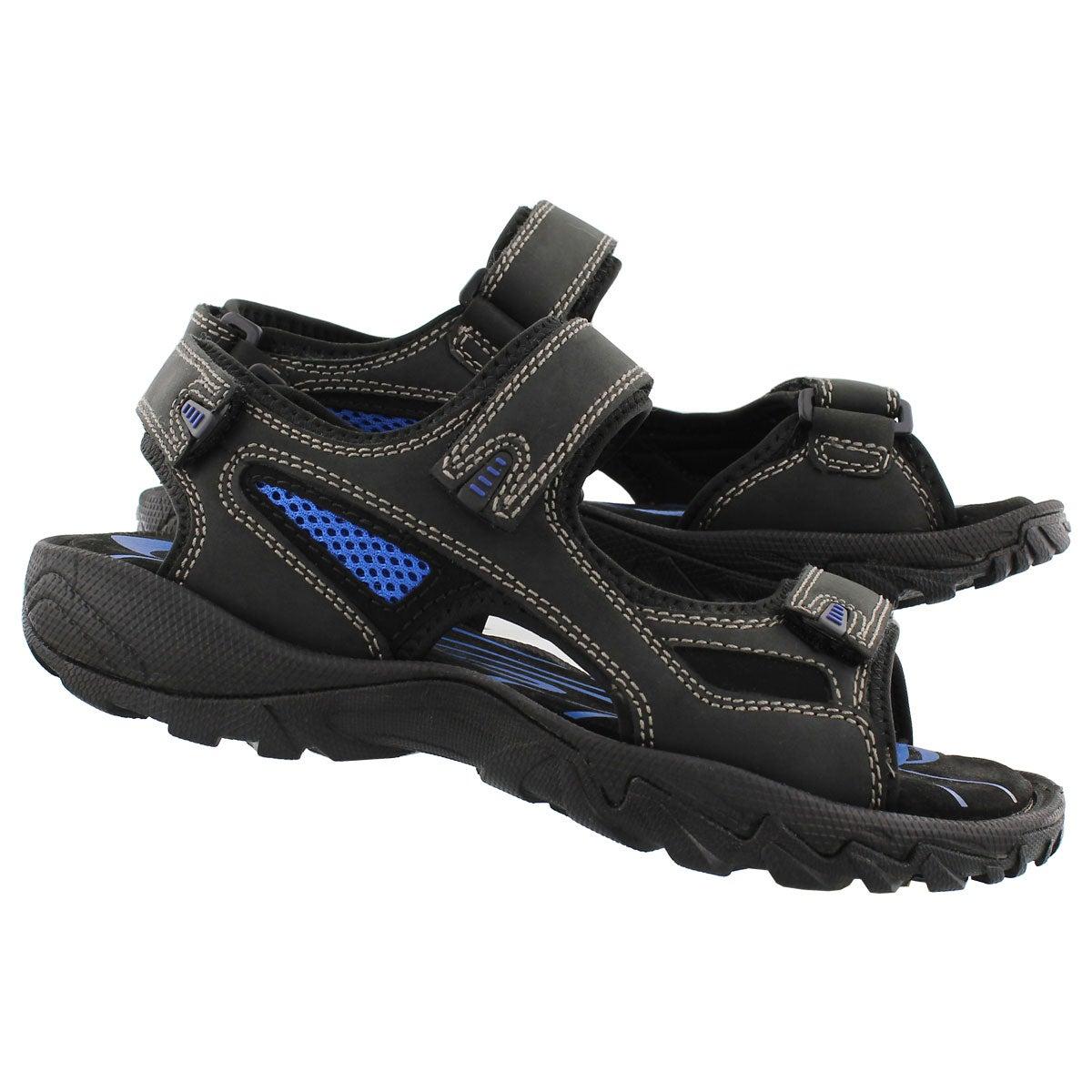 Mns Lucius black 3 strap sandal