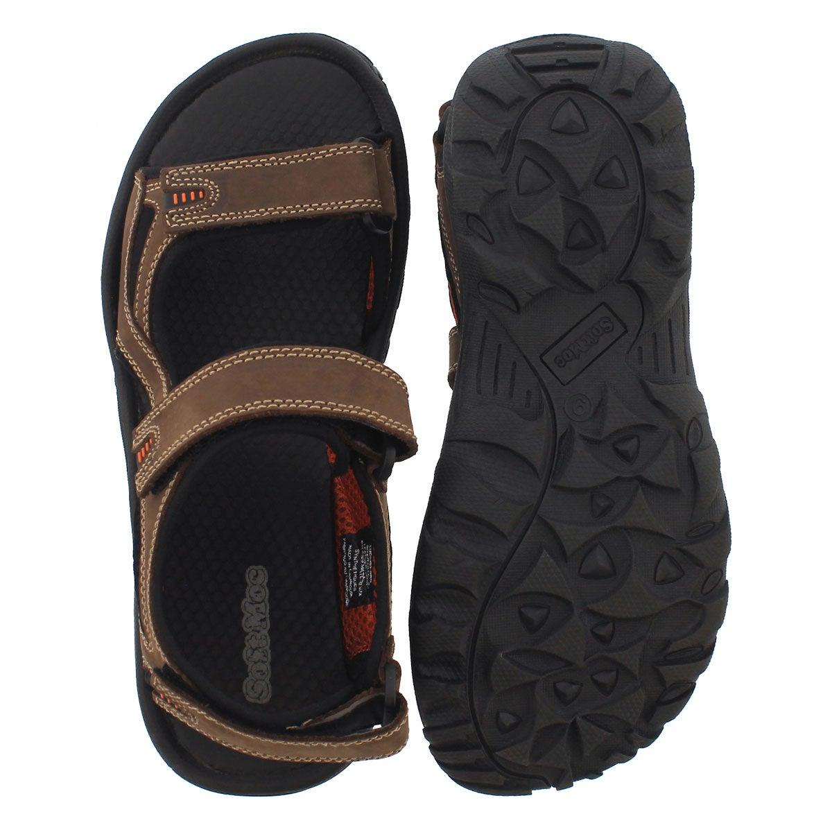 Mns Lucius 2 brown 3 strap sandal