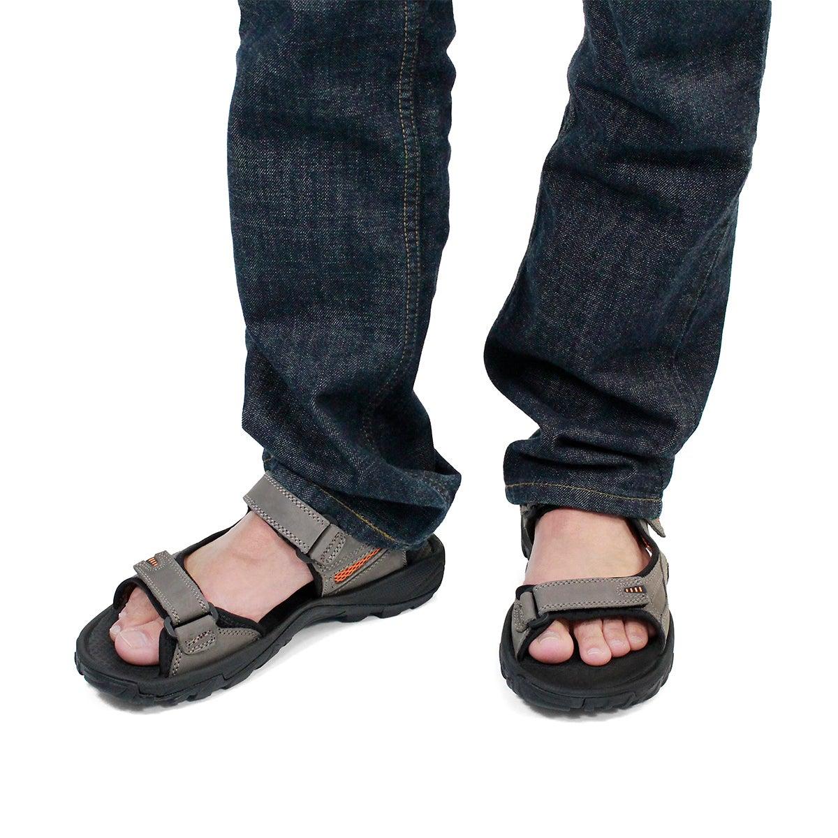 Mns Lucius 2 grey 3 strap sandal