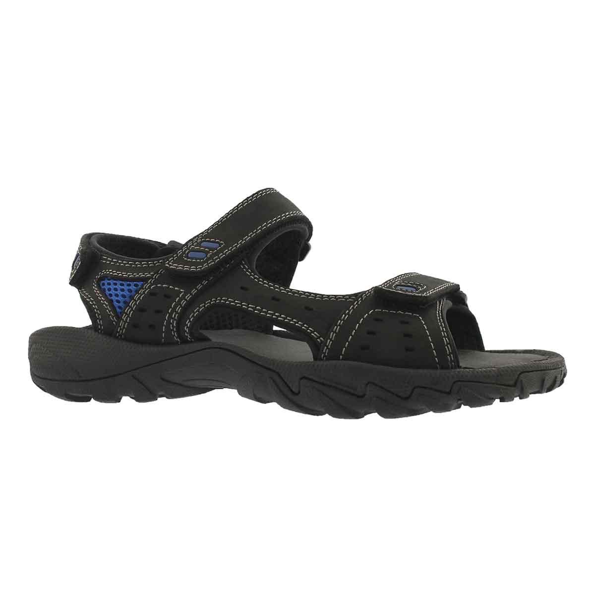 Mne's LUCIUS 3 black 3 strap sport sandals