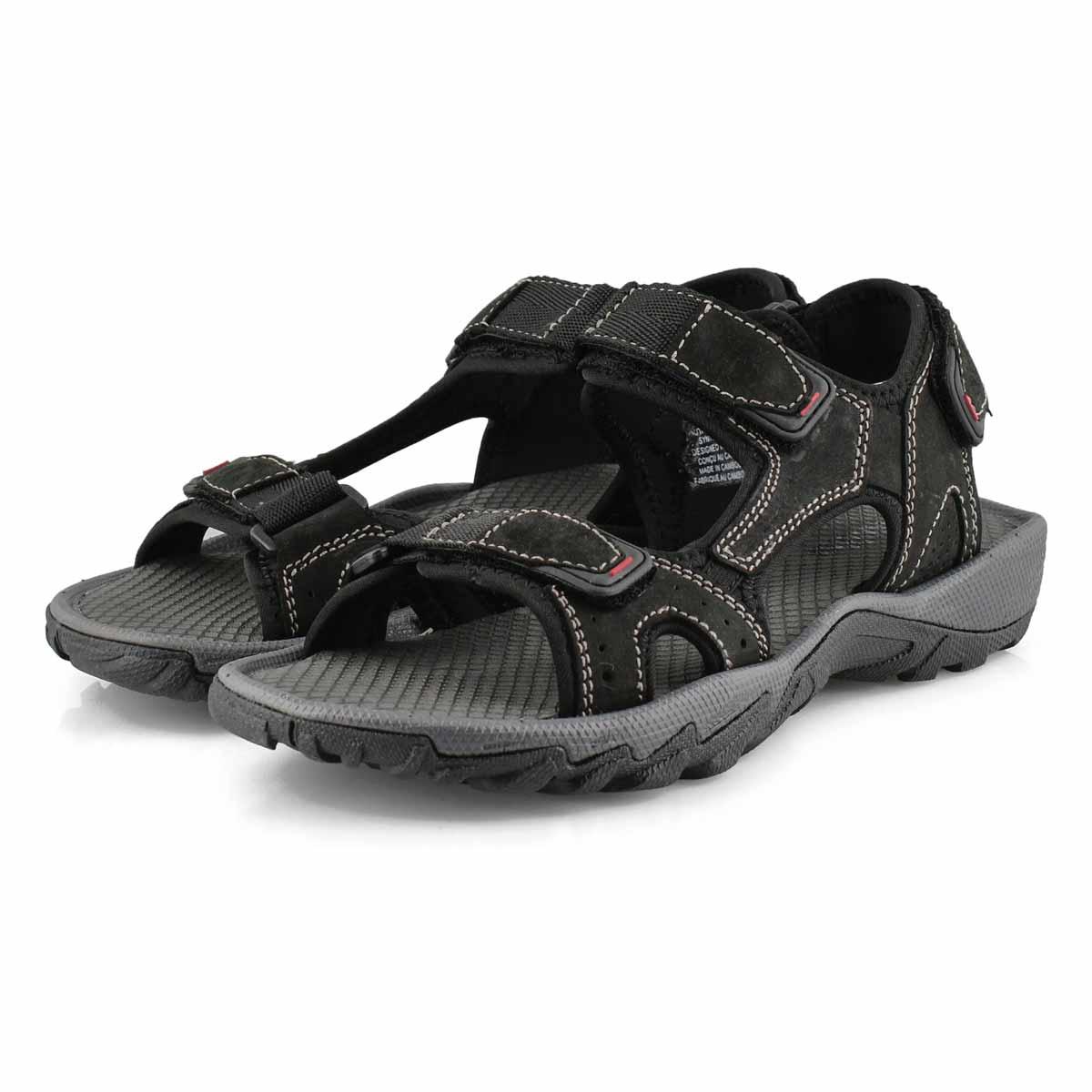 Mns Lucius 4 black 3 strap sport sandal
