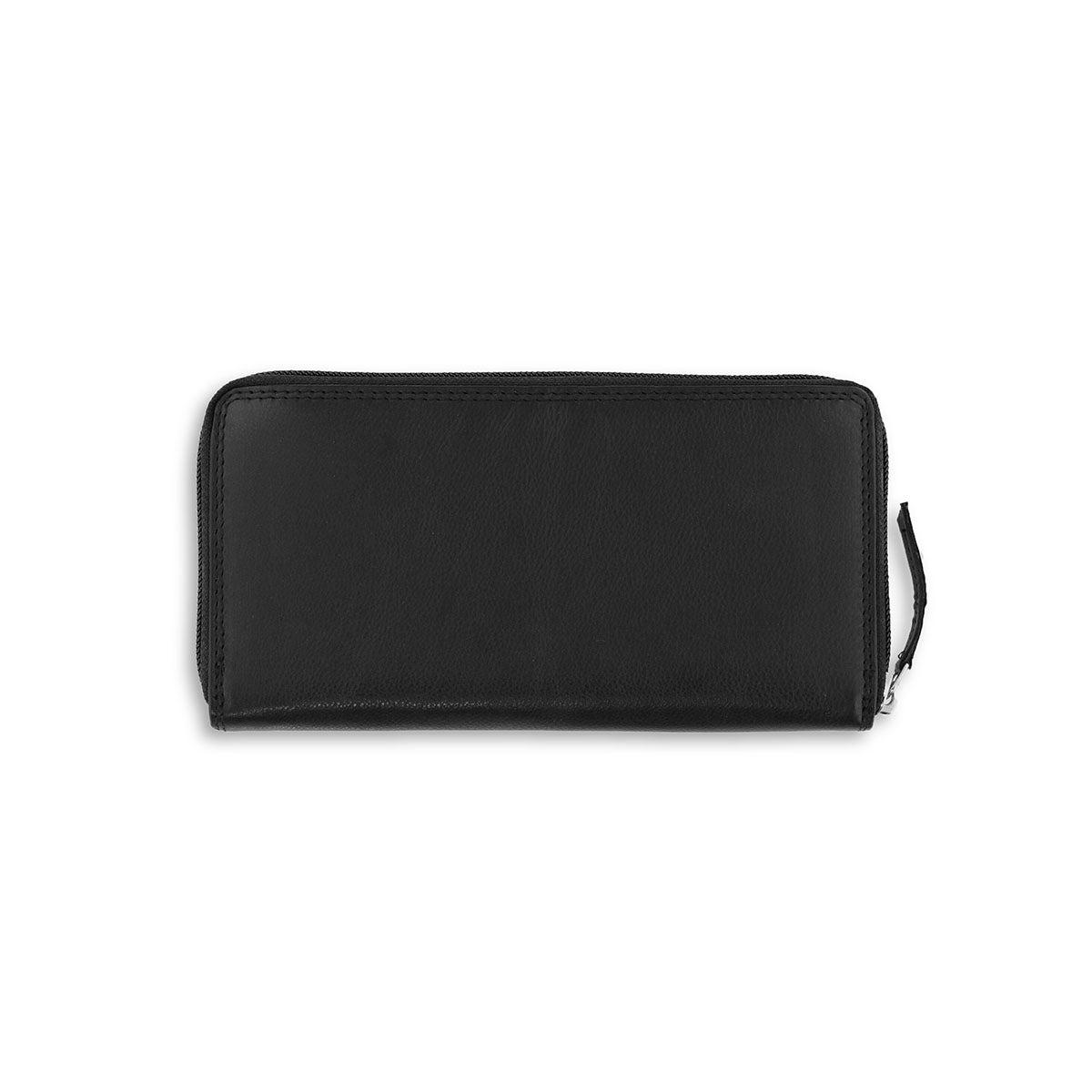 Lds black leather RFID zip around wallet