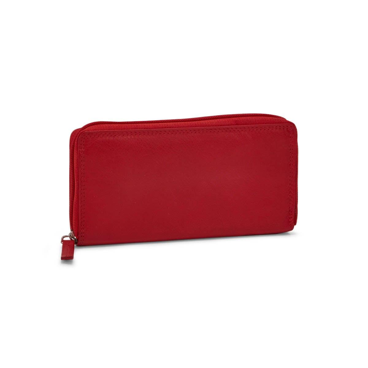 Lds red leather RFID zip around wallet