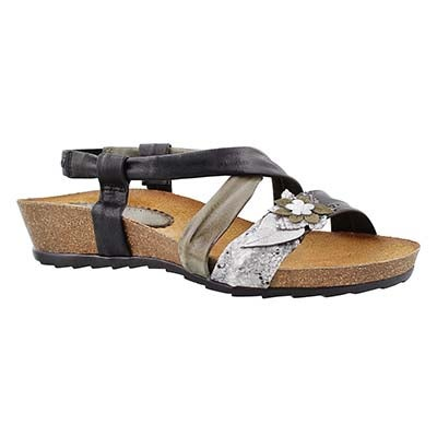 SoftMoc Women's MADISON black casual wedge sandals