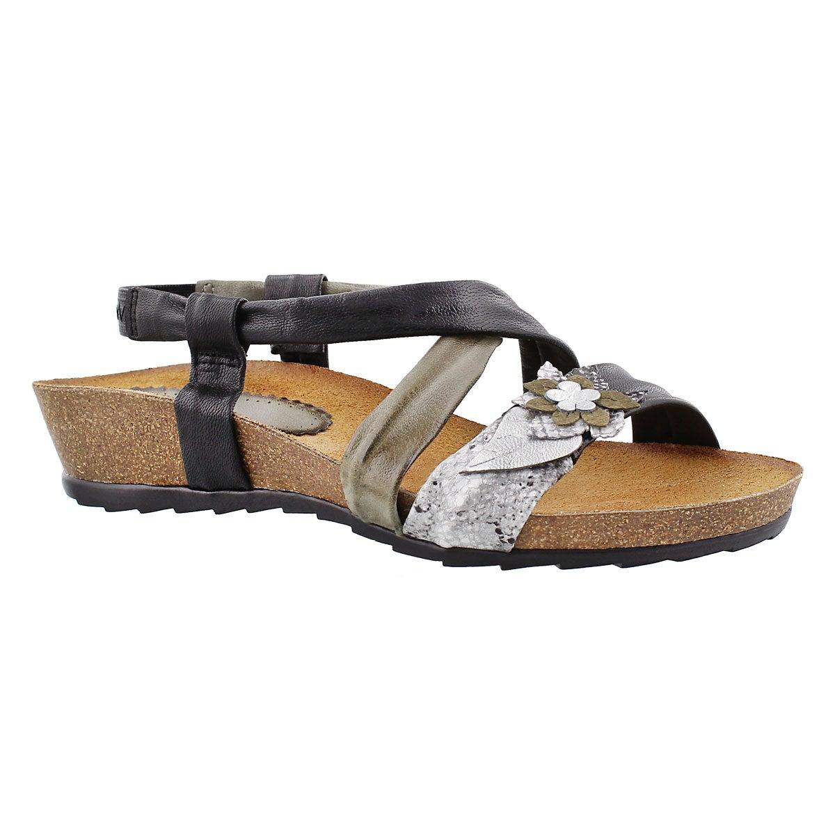 Lds Madison black casual wedge sandal