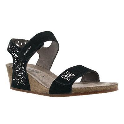 Lds Marie Sparkling black wedge sandal