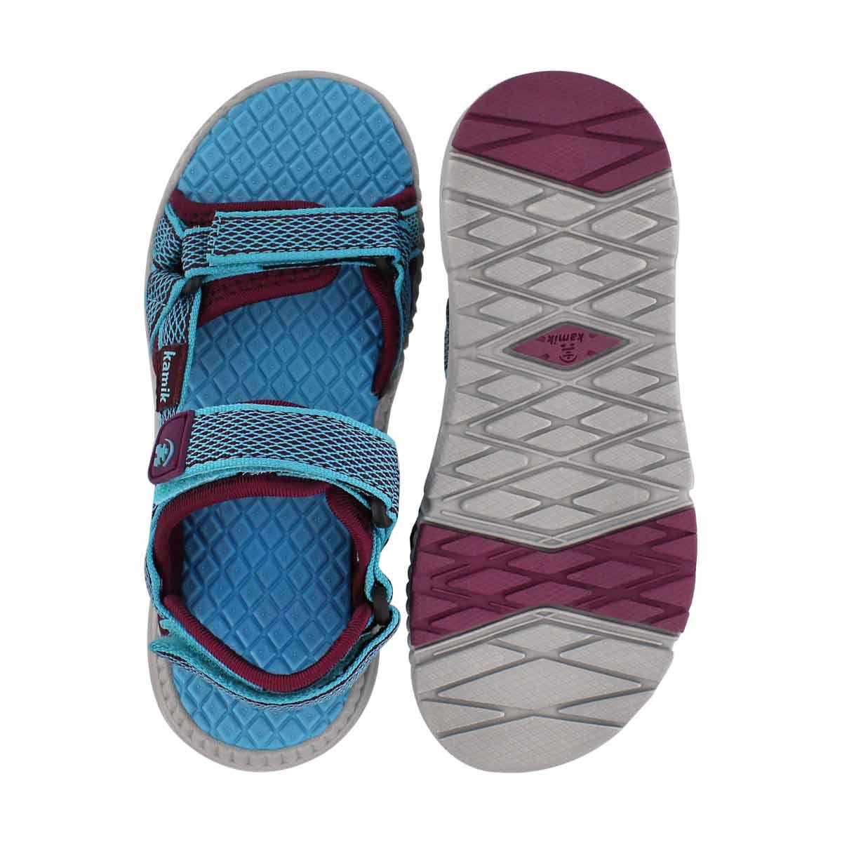 Grls Match teal 3 strap sandal