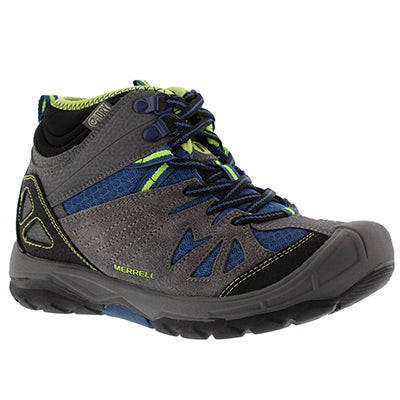 Merrell Boys' CAPRA MID waterproof grey/blue lace up shoe
