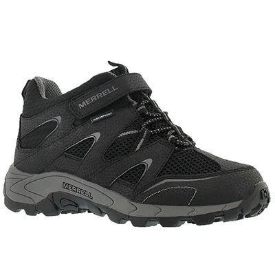 Merrell Boys' HILLTOP MID black waterproof hiking shoes