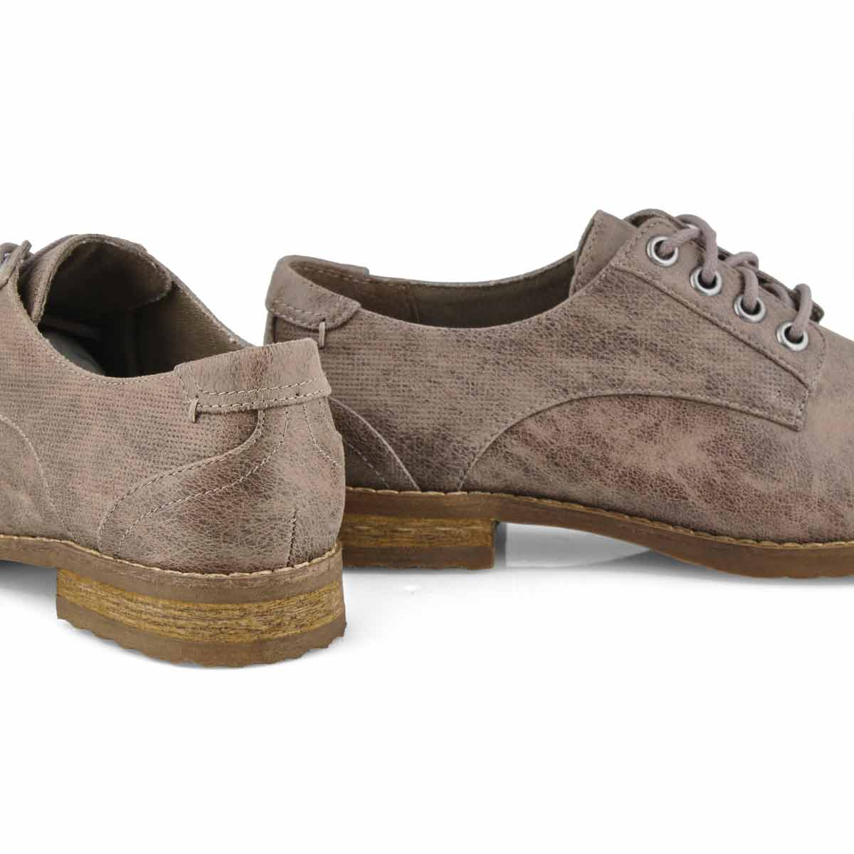 Lds Meghan taupe lace up oxford