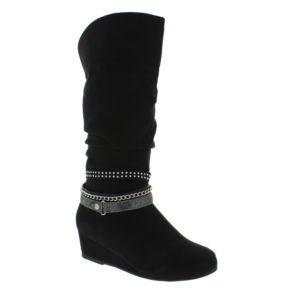 Grls Melanie blk tall casual boot