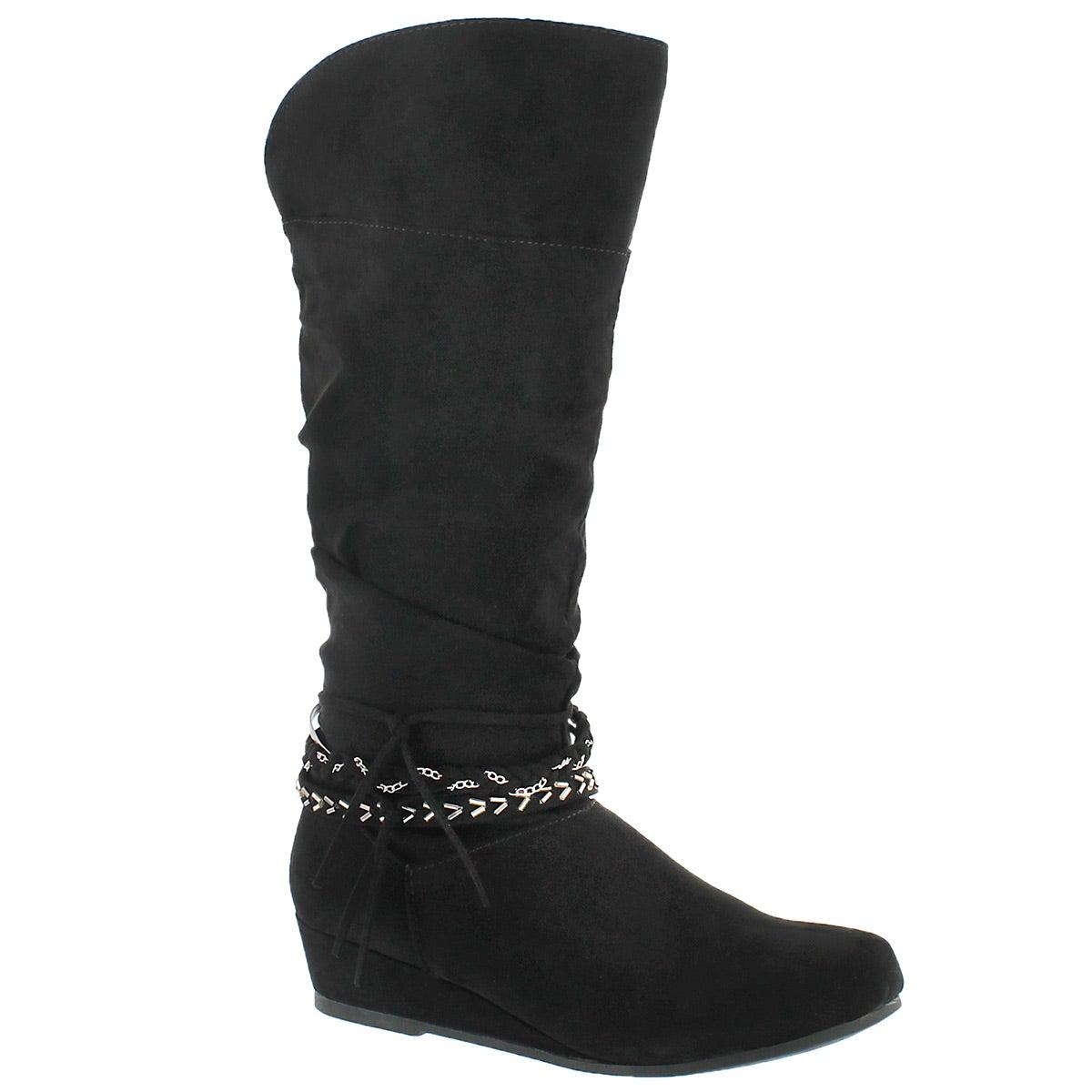 Grls Melanie II blk tall casual boot