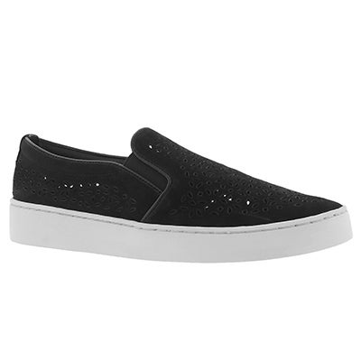 Lds Midi Perf black casual slip on shoe