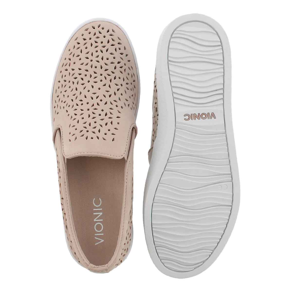 Lds Midi Perf pink casual slip on shoe
