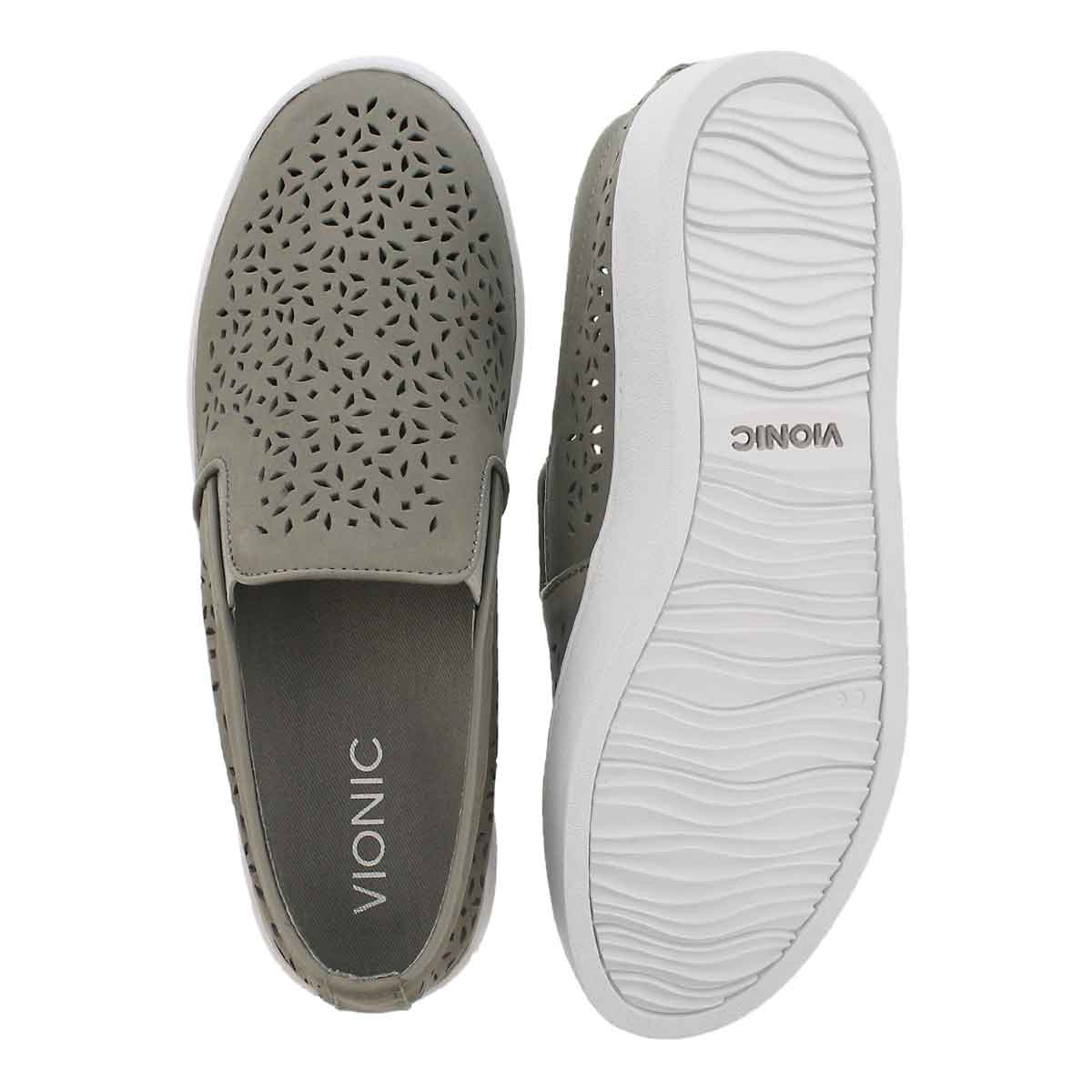 Lds Midi Perf grey casual slip on shoe