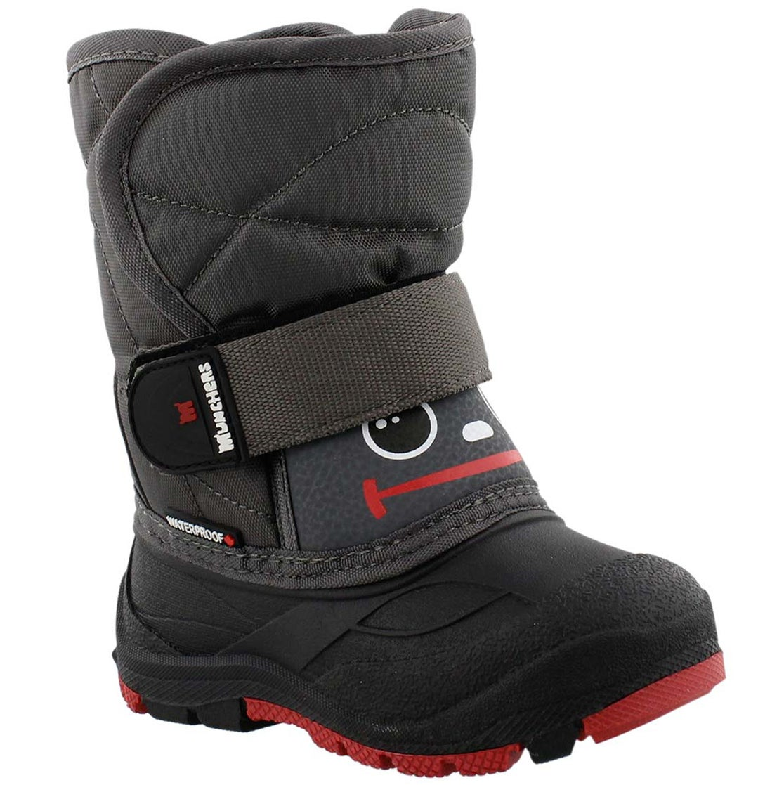 Boys' MINIMAX blk/char/rd waterproof winter boots