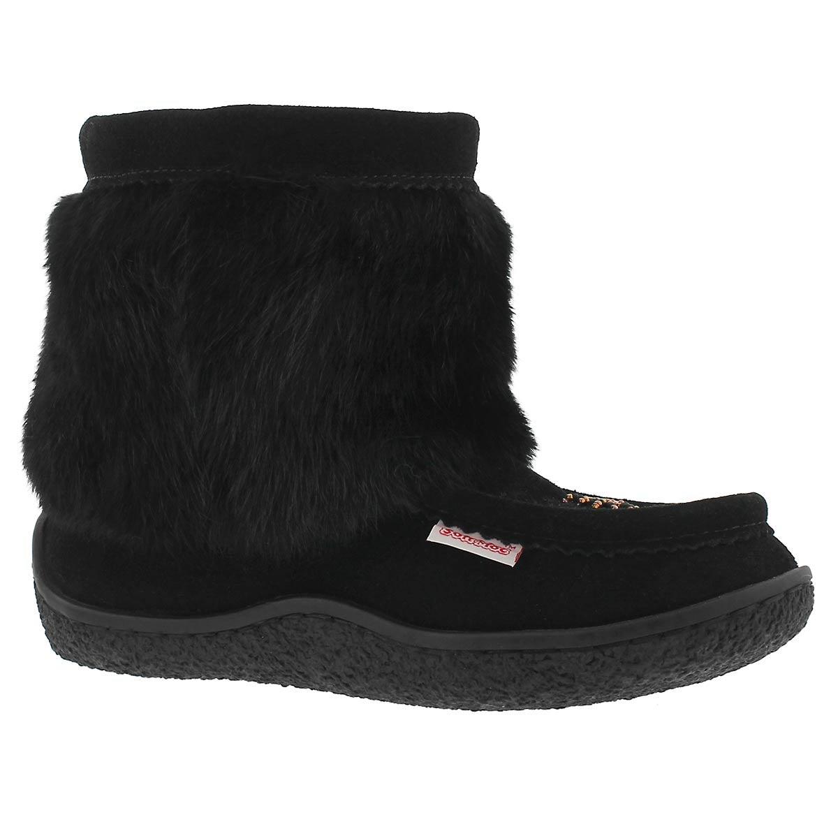 Women's MINIMUK black/black rabbit fur booties