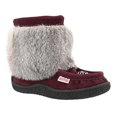SoftMoc Women's MINIMUK burgundy rabbit fur booties