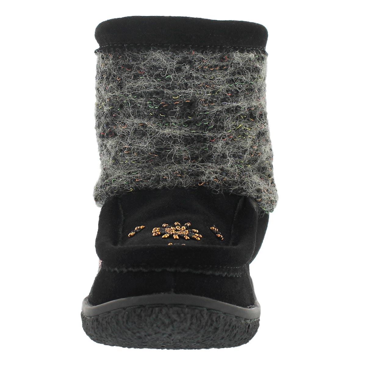 Lds black fabric detail mini mukluk