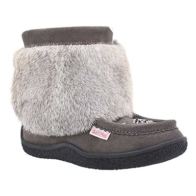 SoftMoc Women's MINIMUK grey rabbit fur booties