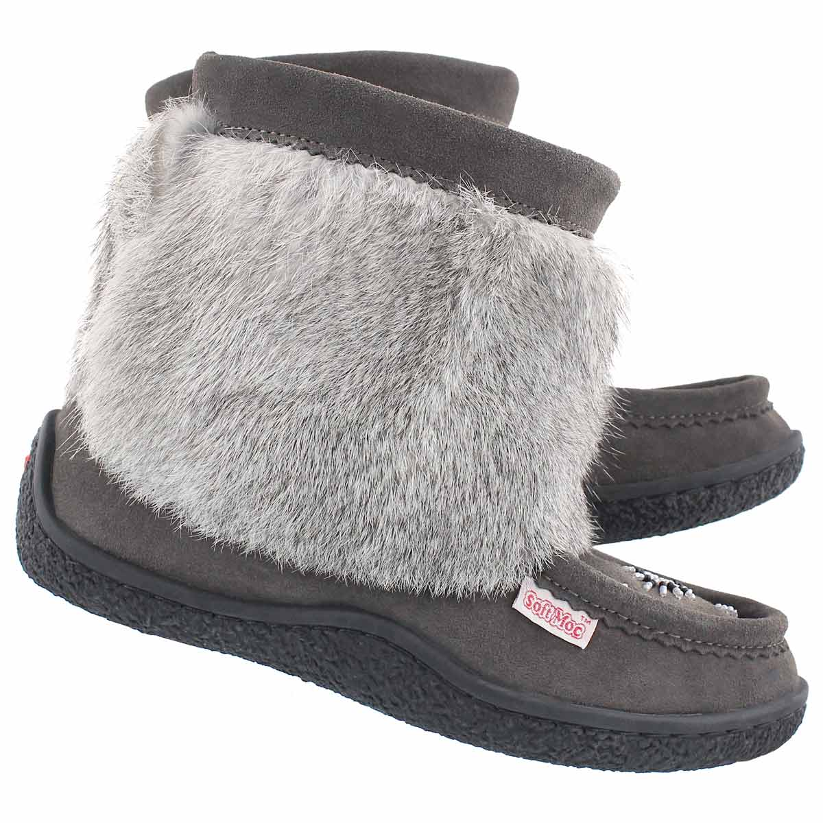 Lds grey mini muk rabbit fur bootie
