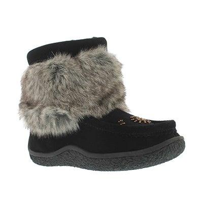 SoftMoc Girls' black mini faux fur mukluks