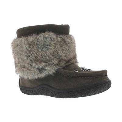 SoftMoc Girls' grey mini faux fur mukluks