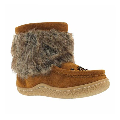 SoftMoc Girls' hazelnut mini rabbit fur mukluks