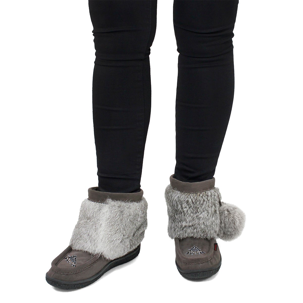 Lds Minimuk Pom grey rabbit fur bootie