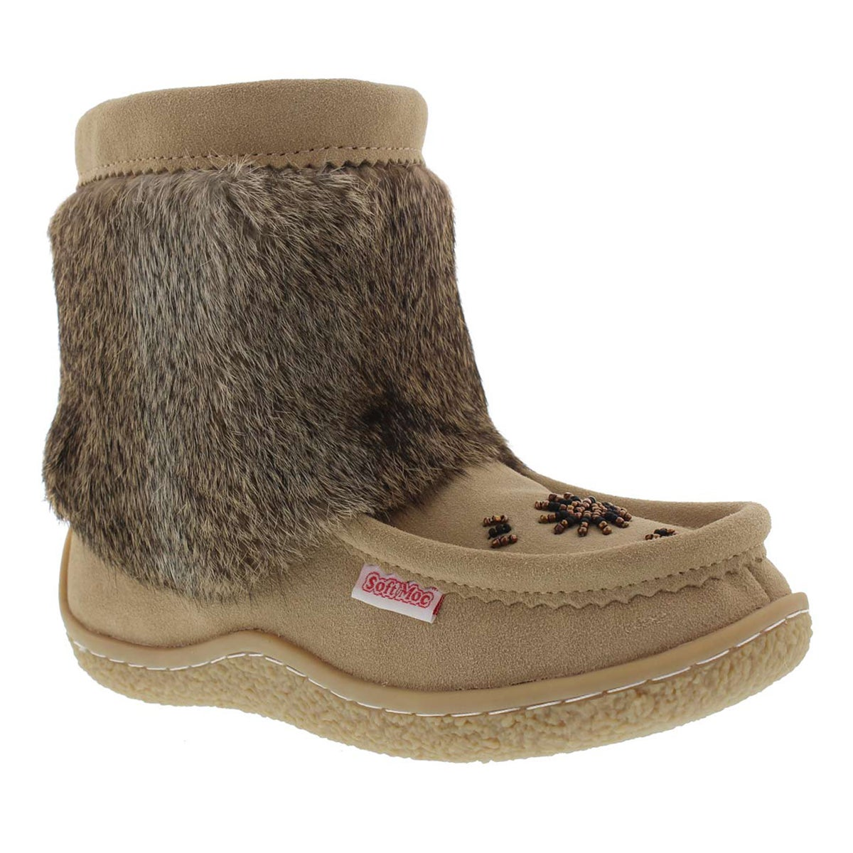 Lds Minimuk sand rabbit fur bootie