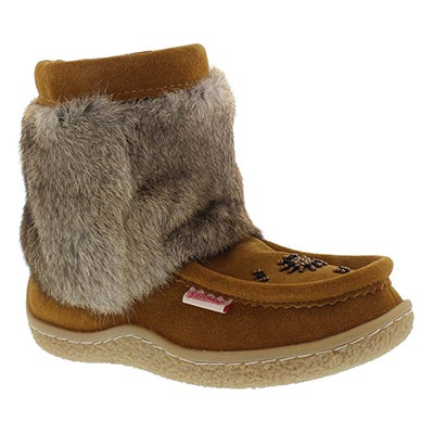 SoftMoc Women's MINIMUK tan rabbit fur booties