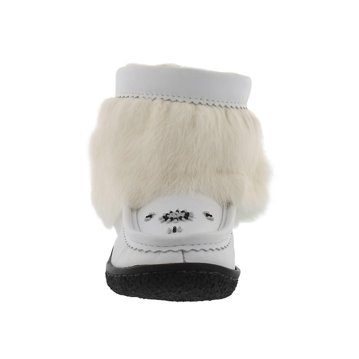 Lds Minimuk white lthr rabbit fur bootie
