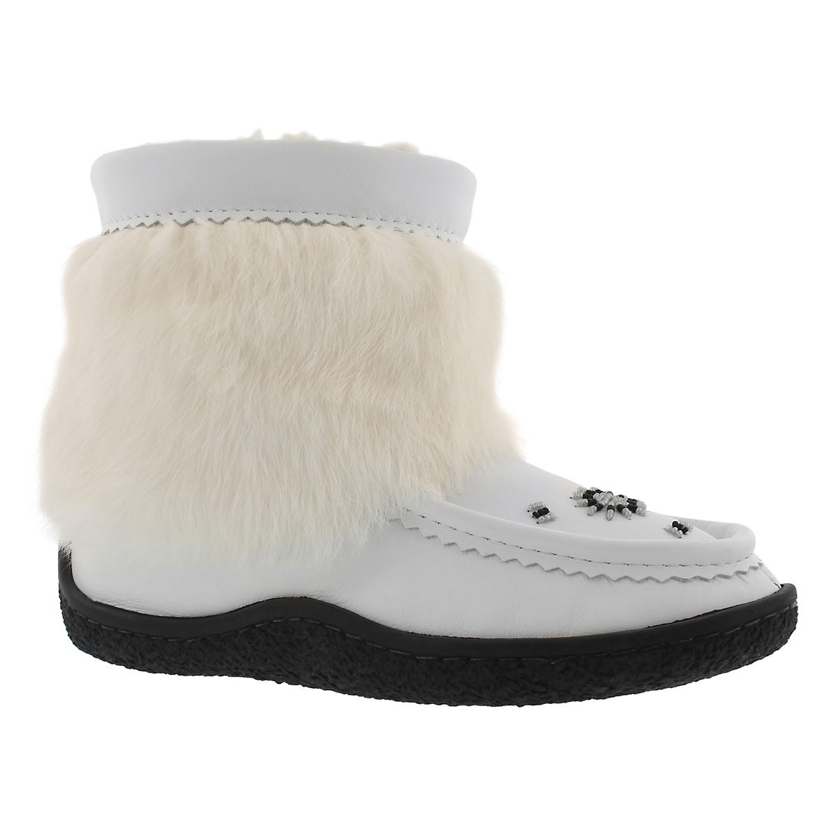 Women's MINIMUK white leather rabbit fur booties
