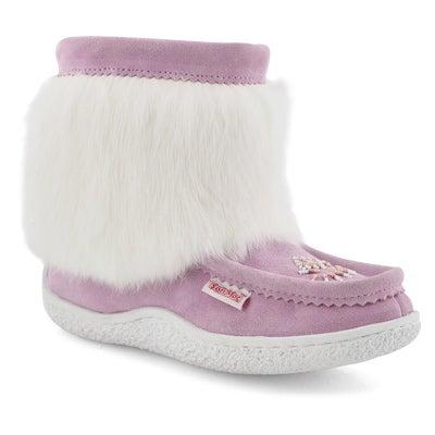 Lds Minimuk 2 pink rabbit fur bootie